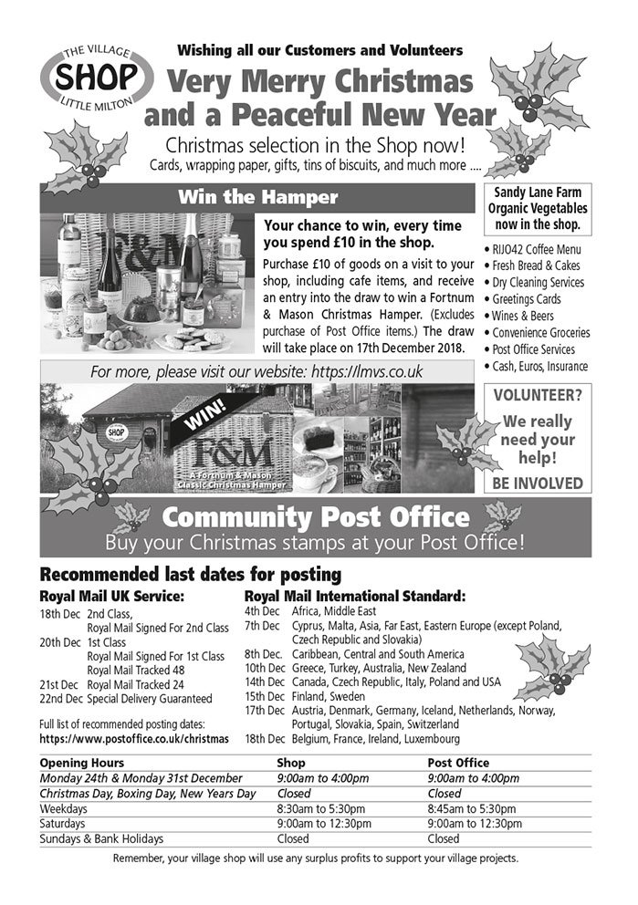 Copy of the December 2018 advert in Little Milton Newsletter