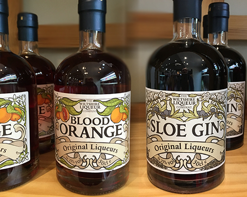 Wiltshire Liqueurs Blood Orange and Sloe Gin.