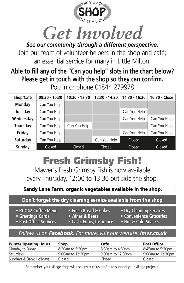 Advert in February 2019 issue of the Little Milton Newsletter